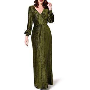 Unique Vintage Voodoo Vixen Velvet Olive Green